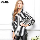 Woman Slim Leisure Striped Chiffon Blouse Lapel Long sleeve Loose Down Shirt OL