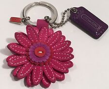 Coach Fob Flower & Tag Charm 92077 Keychain Fuchsia Pink/Purple/Orange Floral