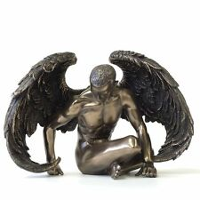 Winged Male Nude Angel Sitting Statue Sculpture Figurine