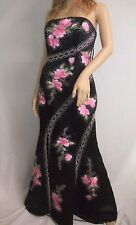 TIFFANY DESIGNS Black Evening Gown Sz 6 Beaded / Embroidered Flowers FREE SHIP!