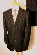 38 REG W32 L29 MENS BURBERRY BROWN PINSTRIPED SUIT SINGLE BREASTED