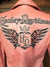 Harley Davidson Pink Leather Biker Motor Cycle Queen Hot Jacket Women S Small