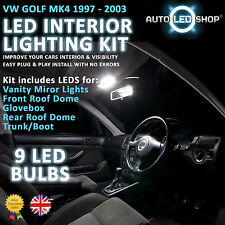 VW GOLF MK4 1998 - 2003 WHITE LED INTERIOR LIGHT SET KIT BULBS XENON SMD