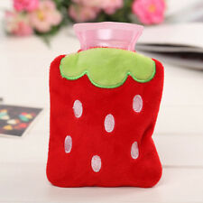 Portable Strawberry Cover Warm Hot Water Bag Bottle Fluffy Plush Home Xmas Gifts