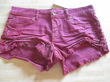 NEW* Billabong SHORTS JEAN $50 Ladies 27 Cut Offs Destroyed Lace Up Sangria Wine