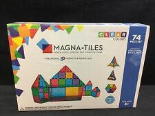 Magna-Tiles Clear Colors 3D Magnetic Building Tiles - 74Piece Set (14874)