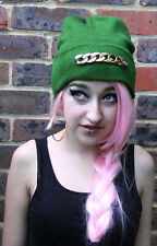 GOLD CHAIN GREEN BEANIE HAT STREET WEAR RAVE HIPSTER BEENIE KAWAII FESTIVAL