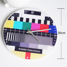 Wall Clock TV Station Test Pattern Screen Repair Sign Modern Design Art Watch