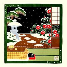 Tsubaki Camellia with Cat Japanese Cotton Furoshiki Wrapping Cloth TB75