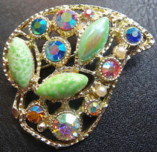 vintage multi colour rhinestone glass heart flower leaf brooch gold tone -C393