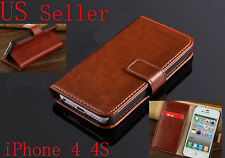 Retro Book Design Wallet PU Leather Stand Case Cover  For Apple iPhone 4 4S