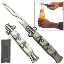 Automatic Style Stiletto Bottle Beer Soda Switchblade Opener Mystic Marble