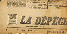 PRESSE NEWSPAPER JOURNAL LA DEPECHE DE LYON DU 12 NOVEMBRE 1917