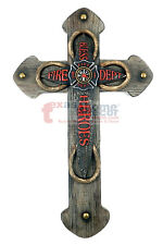 Large Wooden Fireman Decorative Wall Cross Maltese Fire Hose Firefighter Decor