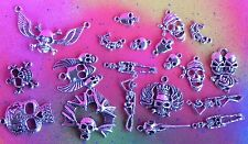 20 Skull HUGE Lot Charm DAY OF THE DEAD Skeleton Charm Pendant Gift Set Jewelry