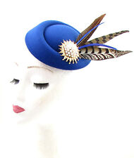Royal Blue Gold Brown Pheasant Feather Pillbox Hat Fascinator Hair Clip 40s 605