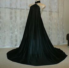 "VINTAGE BLACK UNDERCOVER WEAR 168"" SWEEP LACY NYLON NIGHTGOWN---SIZE-MED"