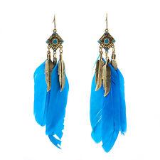 Vintage Colourful Bohemia Handmade Feather Long Eardrop Dangle Earrings Charm