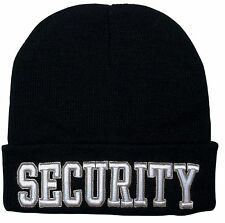 Black SECURITY Watch Cap Ski Hat - Deluxe 3D Raised White Embroidered Winter Hat
