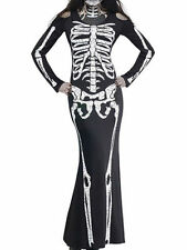 Choies Halloween Gifts Clothes Black Skeleton Print Halloween Bodycon Maxi Dress