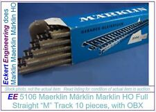 EE 5106 VG Marklin HO 5106 M Full Straight Track Box of 10 with OBX Very Good