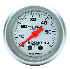 "Auto Meter Ultra Lite Mechanical Boost Pressure Gauge 0-60 Psi 2 1/16"" (52mm)"