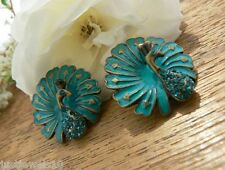 Peacock Earrings Crystal Teal Blue Vintage Art Deco Victorian Unusual Gift Her