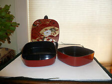 2 Lacquer Small Square Bento Box es Red Black Gold Fans and Flowers