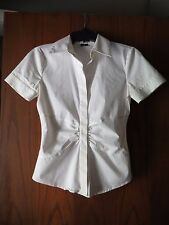 Theory White Stretch Cotton Poplin Ruched Waist Jindia Luxe Short Sleeve Shirt P