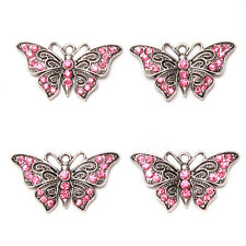 5pcs Wholesale Charms Pink Rhinestone Paved Alloy Butterfly Shape Pendant DIY L