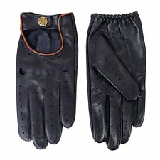 Dents Delta Men's Hairsheep Navy/Tan Leather Classic Driving Gloves Sz L