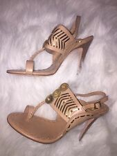 Tory Burch Sandals Nude Gold Thong Heels Shoes Size 8.5 Sold Out So Beautiful