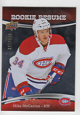 MIKE MCCARRON 2015-16 Upper Deck Contours Hockey Rookie Resume #/399 Canadiens