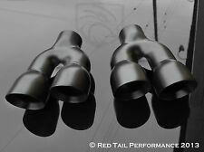 "Black Exhaust Muffler Tip Dual 3"" OD Round Walled Staggered 2.25"" Inlet combo"