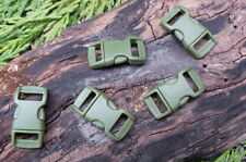 5 x 10MM 3/8 ARMY GREEN CURVED QUICK RELEASE PARACORD SURVIVAL BRACELET BUCKLES