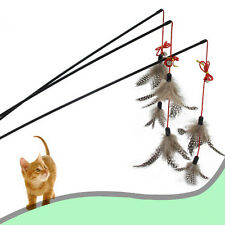 NEW Steel Wire Kitten Cat Toy Feather Rod Teaser Bell Play Pet Dangler Wand MWUS