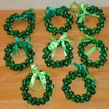 GREEN JINGLE BELL WREATHS mini Christmas or St. Patrick's Day Ornaments lot of 8