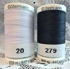 NEW White & Navy blue GUTERMANN 100% polyester sew-all thread 547 yds Spools