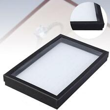 New Black Dustproof 100 Slots 2 in1 Ring earring Clear Display Box White Tray FT