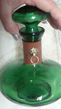Vintage Leather  GREEN BLOWN GLASS   Decanter Bottle  Lions Head  NICE