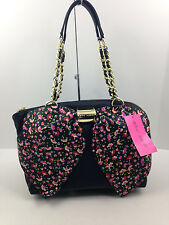 NWOT Betsey Johnson Bow-Nanza Black Rose Print Front Bow Satchel Purse Free Ship