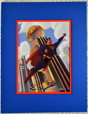 ANIMATED SUPERMAN at DAILY PLANET PRINT PROFESSIONALLY MATTED DC