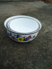 Set of 3 Enamelware Stackable Nesting Bowls with Pansies  by GMI