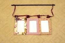 Beautiful Anthropologie fabric picture frames with iron bar - New