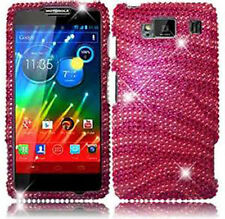 For Motorola DROID RAZR HD Crystal BLING Hard Case Phone Cover Hot Pink Zebra