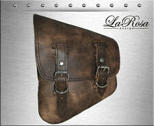 LaRosa Rustic Brown Leather Rigid Chopper Bobber Custom Left Swing Arm Saddlebag