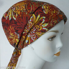Contemporary Rust Floral Cancer Hat Chemo Cap Hair Loss Scarf Turban Head Wrap