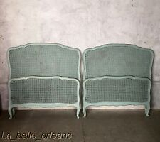 PAIR OF FRENCH CANED SHABBY CHIC TWIN BEDS. TEAL DISTRESSED PATINA. L@@k!!!