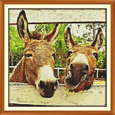 FARM DONKEYS CROSS STITCH CHART 12.0 X 12.0 Inches