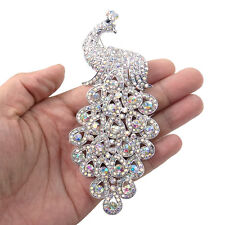 "5.1"" Animal Peafowl Bird Peacock Brooch Pin Clear AB Austrian Crystal Silver GP"